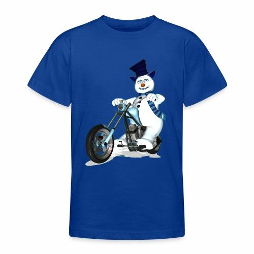 Biker Snowman (child) - Teenage T-Shirt