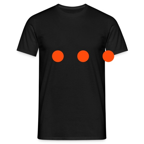 Men's T-Shirt - 3 neon orange dots in a flex print, on a black t-shirt.