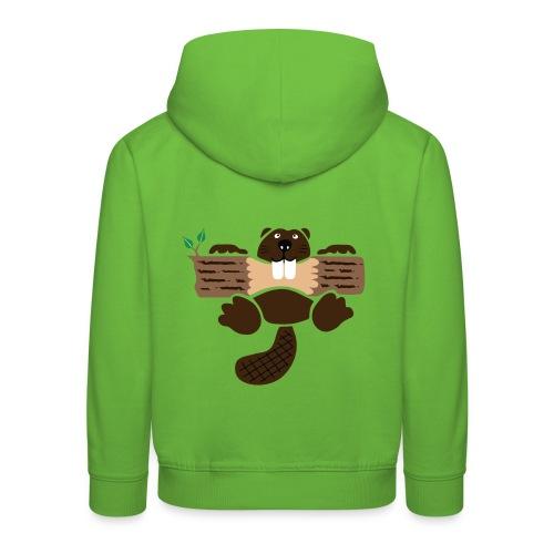 t-shirt biber bieber nager fleissig otter burg natur tier zähne - Kinder Premium Hoodie