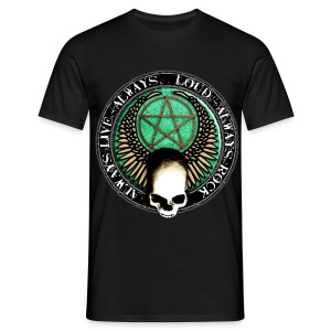 rock_and_roll_and_skull_and_pentagram_r T-Shirts - Männer T-Shirt