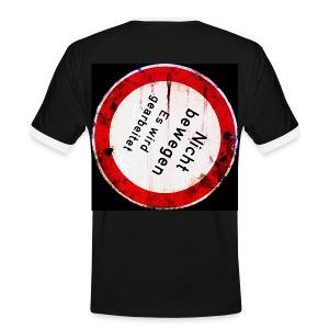 Nicht bewegen, es wird gearbeitet (auf dem Rücken) - Männer Kontrast-T-Shirt