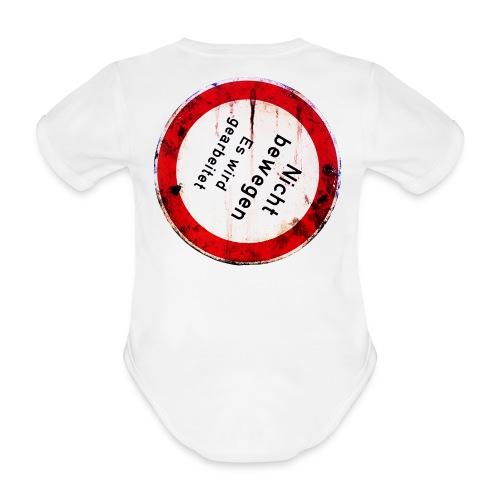 Nicht bewegen, es wird gearbeitet (Hinten) - Baby Bio-Kurzarm-Body
