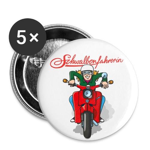 Schwalbenfahrerin Comic Button - Buttons groß 56 mm