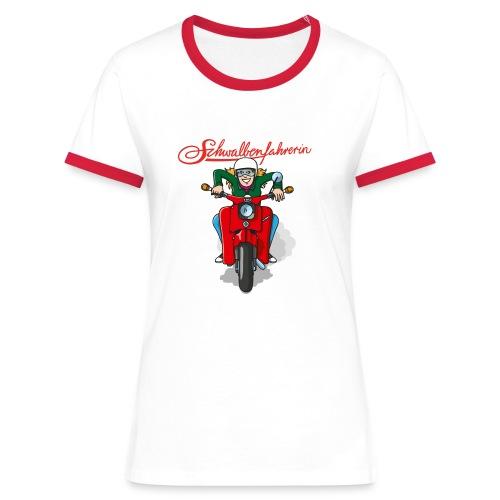 Comic Schwalbenfahrerin Kontrast-Shirt - Frauen Kontrast-T-Shirt