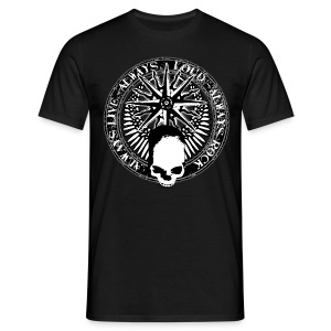 rock_and_roll_and_skull_and_pentagram_bw T-Shirts - Männer T-Shirt