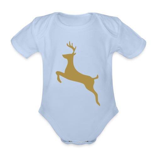 Baby Reindeer - Snow Flake on Reverse - Organic Short-sleeved Baby Bodysuit