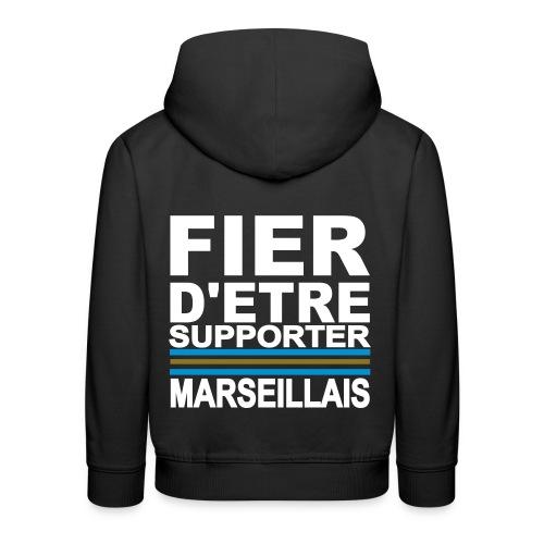 Sweat-shirt à capuche enfant Supporter Marseillais - Pull à capuche Premium Enfant
