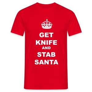 GET KNIFE AND STAB SANTA - Men's T-Shirt