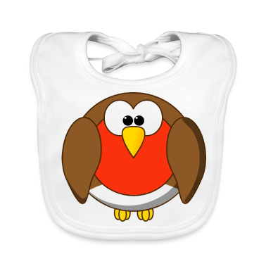 Funny Robin Redbreast Cartoon Baby Bib