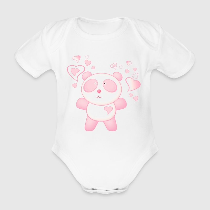 Pink Panda Bear Cartoon with Love Hearts Babygrow Ope Piece - Organic Short-sleeved Baby Bodysuit