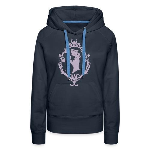 Kapuzenpulli Schleife Navy-Lavendel Flock - Frauen Premium Hoodie