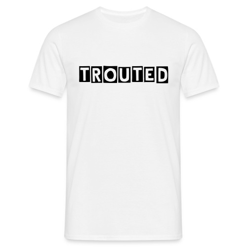 TROUTED Block Text (White) - Men's T-Shirt