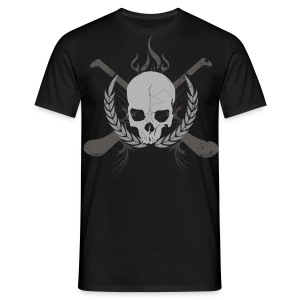 Skull And Hurleys - Grey on Black - Men's T-Shirt