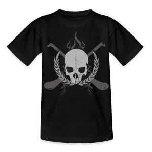 Skull And Hurleys - Grey on Black - Teenage T-shirt