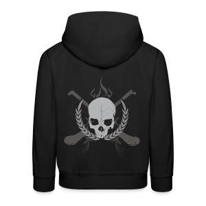 Skull And Hurleys - Grey on Black - Kids' Premium Hoodie