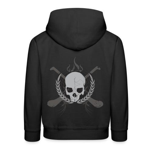 Skull And Hurleys - Grey on Black - Kids' Premium Hoodie