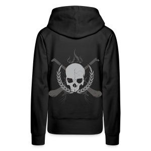 Skull And Hurleys : Grey on Black - Women's Premium Hoodie