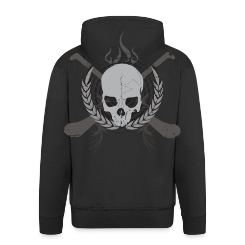Skull And Hurleys - Grey on Black - Men's Premium Hooded Jacket
