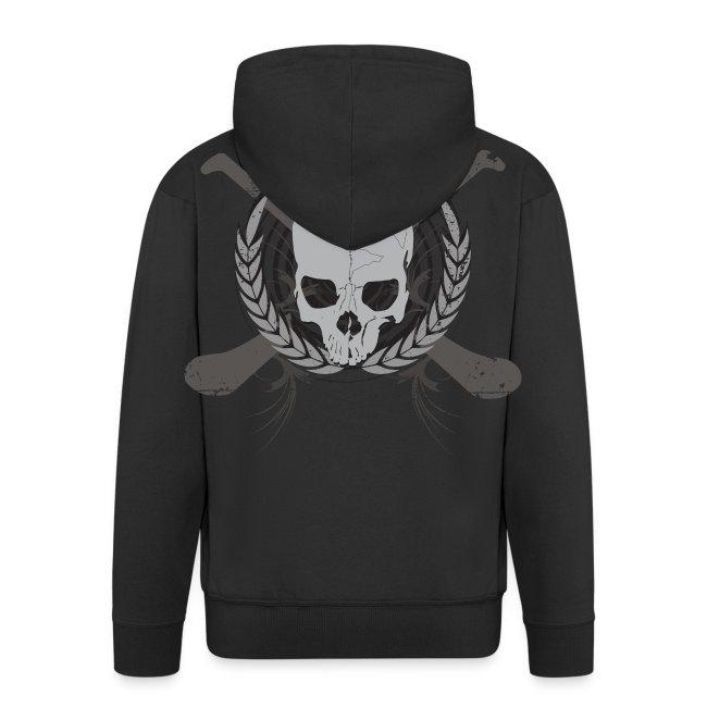 Skull And Hurleys - Grey on Black