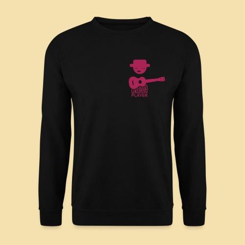 Men Pullover: Ukulele Player (motiv; rotmagenta / Brust) - Männer Pullover