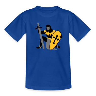 knight kneeling medieval patjila Kids' Shirts