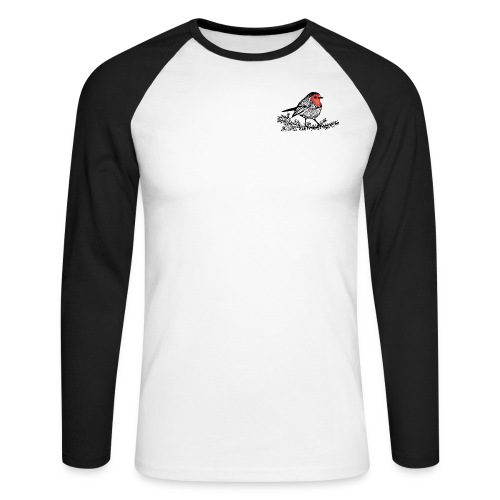 Men's Raglan Long Sleeve with Robin Print - Men's Long Sleeve Baseball T-Shirt