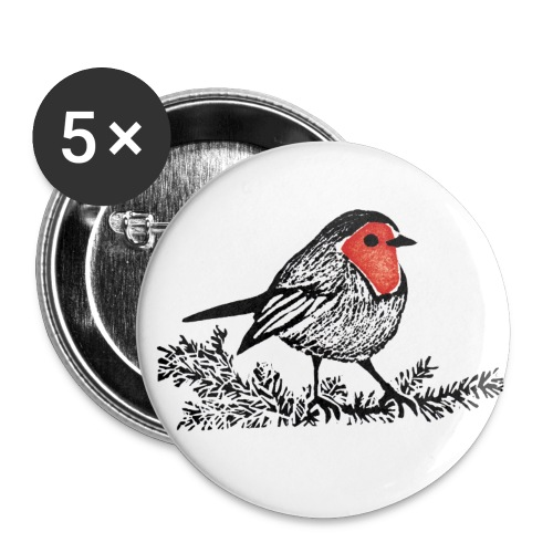Small Robin Button Badge - Pack of 5 - Buttons small 1''/25 mm (5-pack)