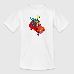 Goudoranje Giraffe in een auto Shirts - Teenager T-shirt