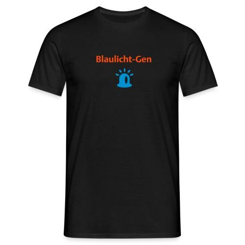 Blaulicht-Gen (Rücken: Logo) - Männer T-Shirt