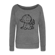 Hoodies & Sweatshirts ~ Women's Boat Neck Long Sleeve Top ~ Cartoon Monkey Womens Top
