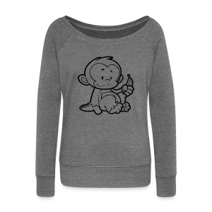 Cartoon Monkey Womens Top - Women's Boat Neck Long Sleeve Top