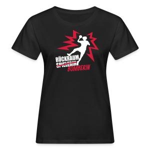 Rückraumbomberin rot/weiß - Frauen Bio-T-Shirt