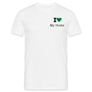 T-Shirts ~ Men's T-Shirt ~ I Love My Ducks Unisex T- shirt Green Heart Logo