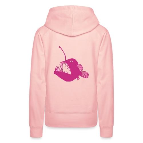 t-shirt hoodie schürze anglerfisch angler angeln fisch tiefsee hochsee fischen monster seeteufel piranha laterne raubfisch maul zähne - Frauen Premium Hoodie