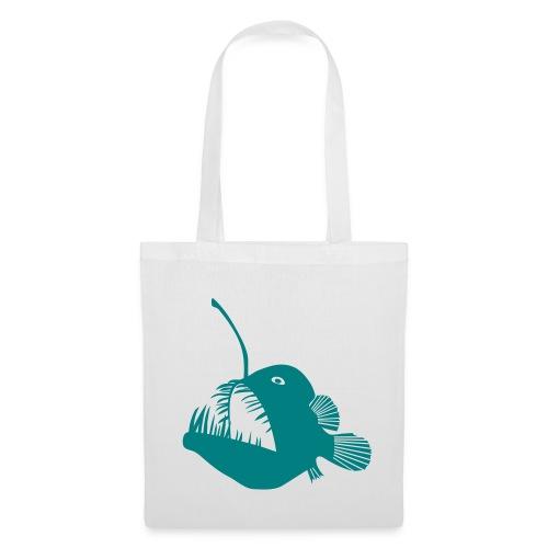 t-shirt hoodie schürze anglerfisch angler angeln fisch tiefsee hochsee fischen monster seeteufel piranha laterne raubfisch maul zähne - Stoffbeutel