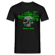T-Shirts ~ Men's T-Shirt ~ Skull.sys neon green/grey with backprint
