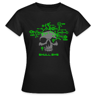 T-Shirts ~ Women's T-Shirt ~ Skull.sys neon green/grey with backprint