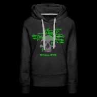 Hoodies & Sweatshirts ~ Women's Premium Hoodie ~ Skull.sys neon green/grey