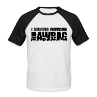 T-Shirts ~ Men's Baseball T-Shirt ~ I Survived Hurricane Bawbag