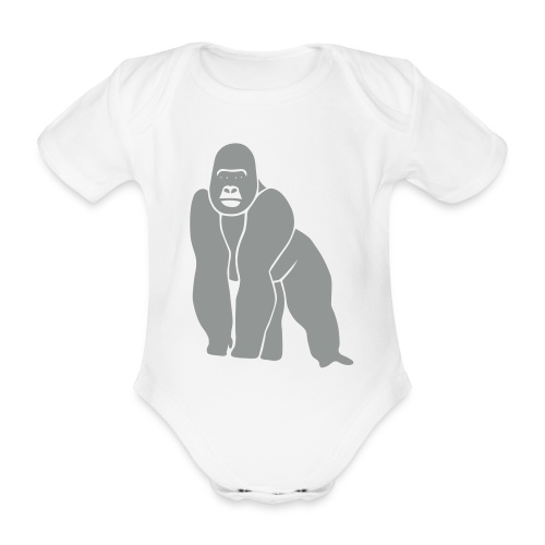 tier t-shirt gorilla affe monkey king kong godzilla silberrücken orang utan schimpanse ape - Baby Bio-Kurzarm-Body