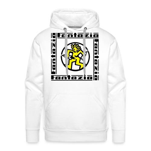 Fantazia Square logo Hoodie with Dancing Man logo - Men's Premium Hoodie