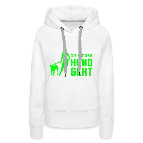 Hund Girly Kapuzenpullover Weiß/Neongrün (Danceliner) - Frauen Premium Hoodie