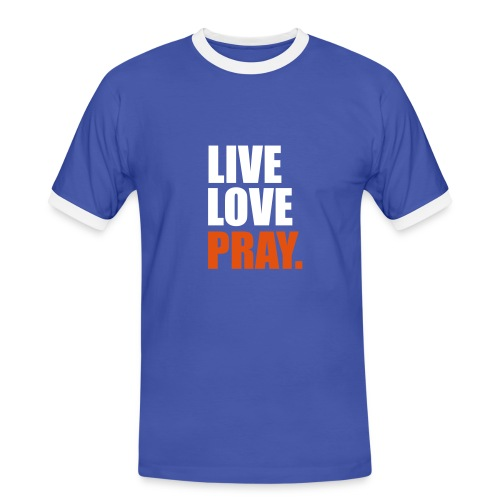 Live Love PraySleevelessFootball Fan Shirt {Blue/White} - Men's Ringer Shirt