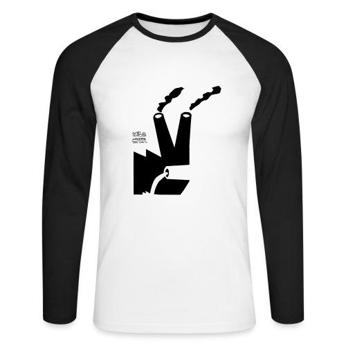 Kominy na białej z długim - Koszulka męska bejsbolowa z długim rękawem