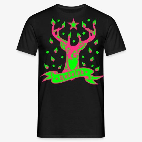Hirsch – Rudolph / Geweih mit Kerzenlicht 3c Männer Shirt schwarz - Männer T-Shirt