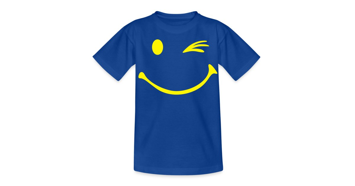 fd18766dbc2 Shirtshop Online | Kinderen T-shirt met smiley opdruk met knipoog -  Teenager T-shirt