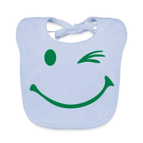 Baby slabbetje met smiley opdruk met knipoog - Bio-slabbetje voor baby's