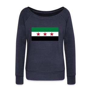 pre-1963 Syria Flag  - Women's Boat Neck Long Sleeve Top