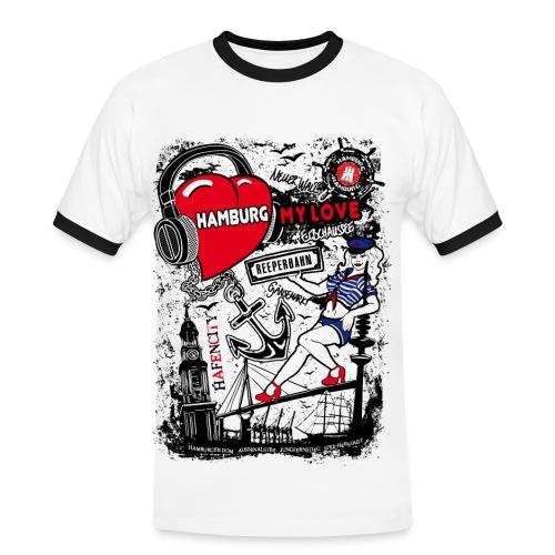 Hamburg My Love Herren T-Shirt - Weiss / Navy - Männer Kontrast-T-Shirt
