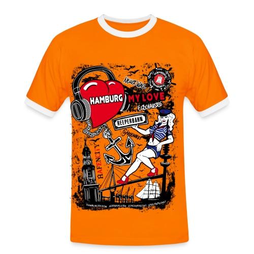 Hamburg My Love Herren T-Shirt - Orange / Schwarz - Männer Kontrast-T-Shirt